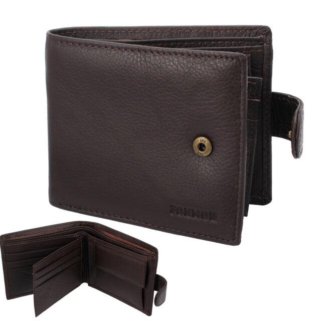 21fed19645e Men s Leather Wallet Money Clip Slim Mens Purse Bifold Credit Card Holder  Brown