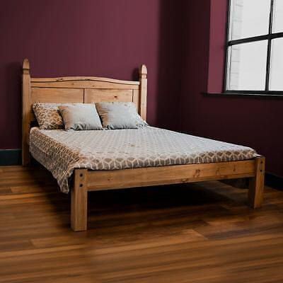 Corona King Size Bed Low Foot End 5 FT Solid Pine Wood Mexican Bedroom Furniture