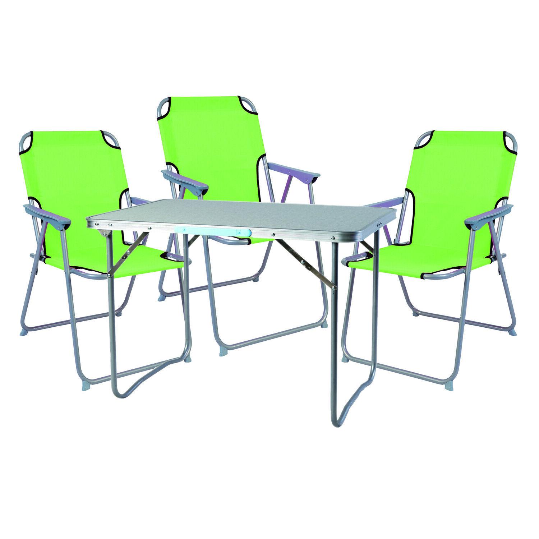 XL 4 pezzi mobili da campeggio set in alluminio con maniglia per il trasporto campeggio 80x60x68cm limeverde