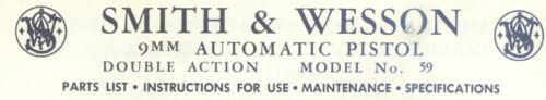 Smith /& Wesson Model 59 Pistol 9mm DA Parts Use /& Maintenance Manual