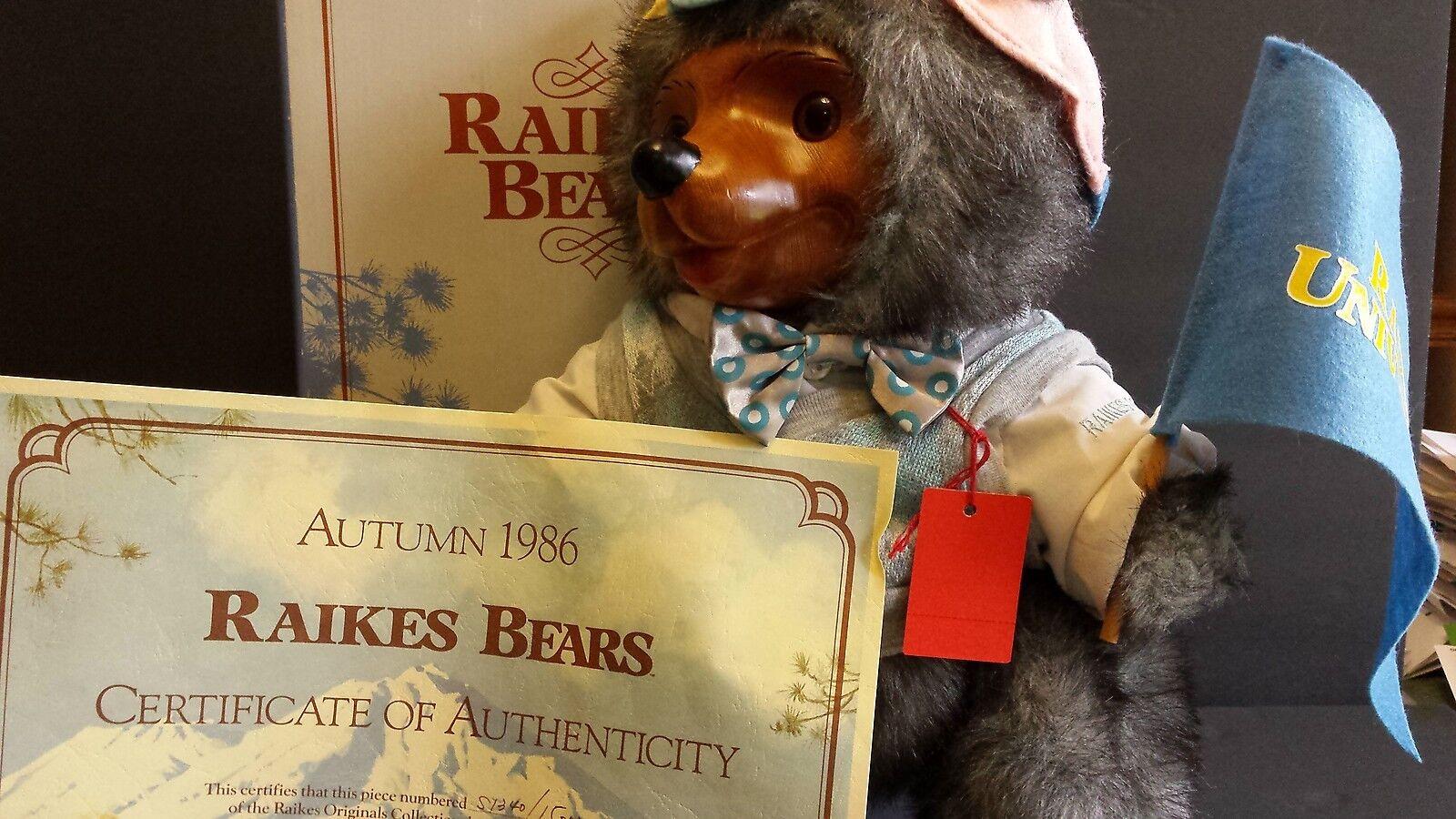 RAIKES Reginald GlamourTeddy Bears 1920's w  Box COA Vintage 1986 5467 Applause