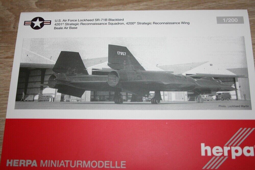 Fuerza aérea de Estados Unidos de 559454-1 200 Herpa mirlo de Lockheed SR-71B - nuevo