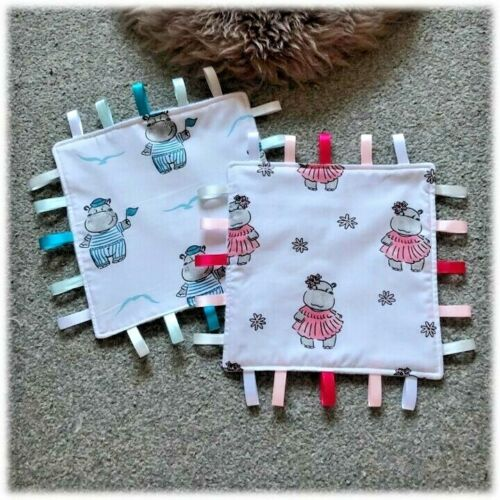 Beautiful Soft Girl or Boy Hippo Design  Baby Taggie //Comforter*SALE £3.50 EACH*