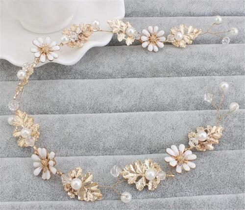 PEARL Bridal Bandeau Cristal Cheveux vigne OR Coiffure Robe de Mariage Accessoires