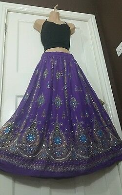 Ladies Indian Boho Hippie Long Sequin Block Painted Skirt Rayon in PURPLE colour