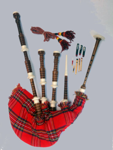 Bagpipe Highland Rose Wood Bagpipe Natural Finish Imitation Ivory Mounts