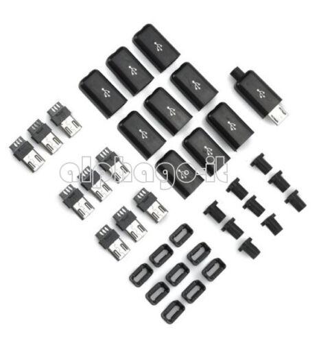 100PCS DIY Black Micro USB Male Plug Connectors Kit With Plastic Covers
