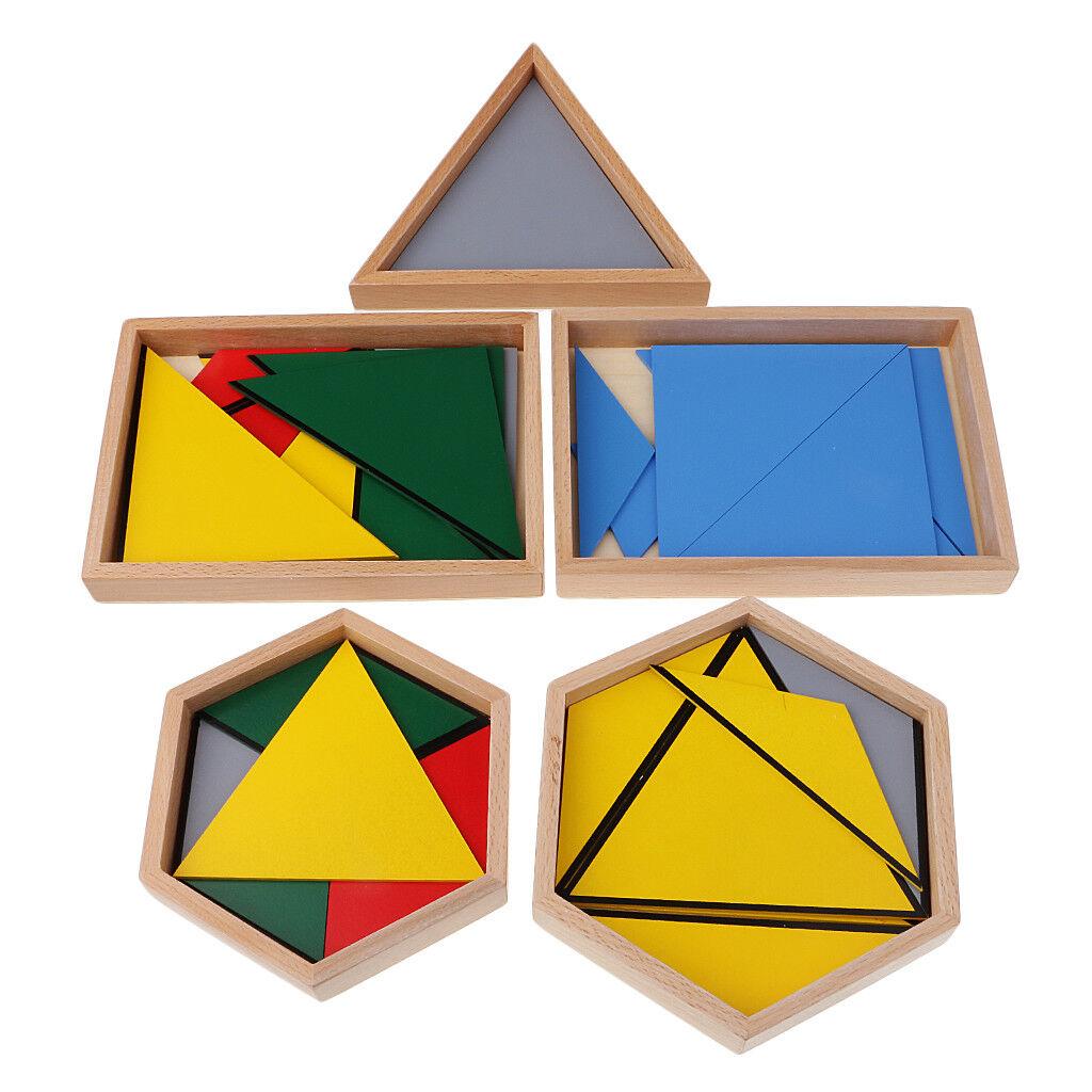 Contructive Triangles Insert Boards Kids Montessori Geometry Learning Toys