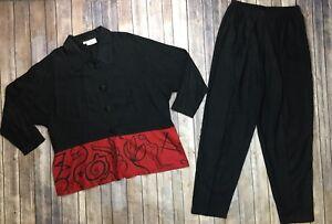 Beppa-Women-039-s-Large-Black-Red-Linen-Tencel-Art-Wear-Lagenlook-Jacket-Pants-Set