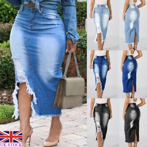 professional sale better super popular Details about Plus Size Womens High Waist Ripped Denim Skirt Ladies Bodycon  Pencil Midi Dress