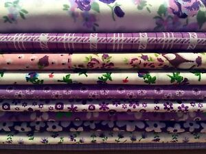 10-Fat-Quarters-Bundle-PURPLE-Polycotton-Fabric-Offcuts-Scraps-Remnants