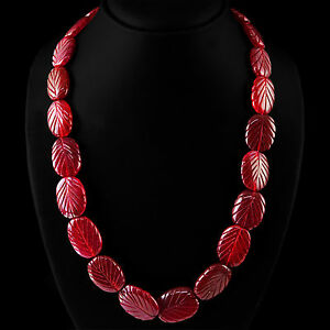 RARE-505-00-CTS-EARTH-MINED-RICH-RED-RUBY-GEMSTONE-OVAL-CARVED-BEADS-NECKLACE