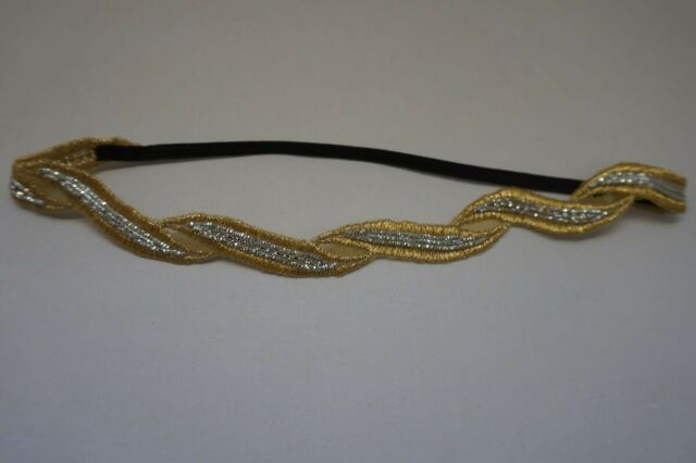 Beige Shiny Rose Gold embroidered beaded with crystal accents Headband N43-10//22