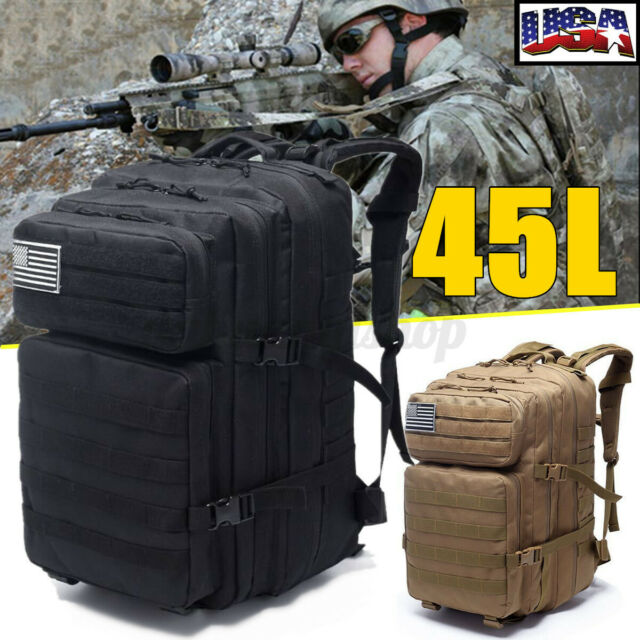 45L Backpack Camping Travel Hiking Outdoor Military Tactical Rucksack Bag Gifts