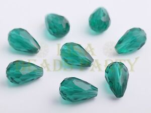 New-10pcs-15X10mm-Teardrop-Faceted-Loose-Glass-Spacer-Big-Beads-Peacock-Green
