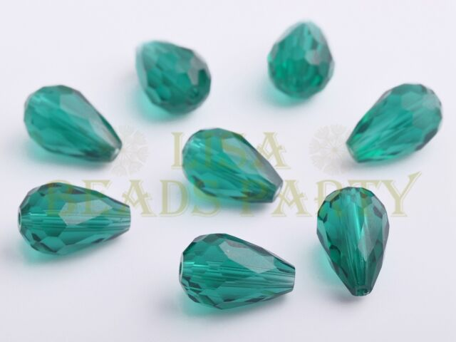 New 10pcs 15X10mm Teardrop Faceted Loose Glass Spacer Big Beads Peacock Green