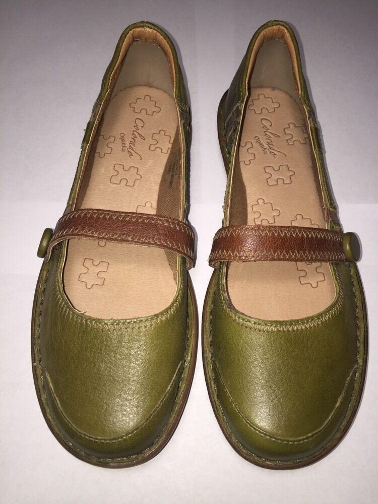 colorado Opanka Leather shoes Women's Sz 7 1 2  Casual Slip on Green Brown USED