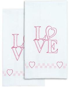 Jack Dempsey Stamped Pillowcases W//White Lace Edge 2//Pkg Heart /&  013155877465