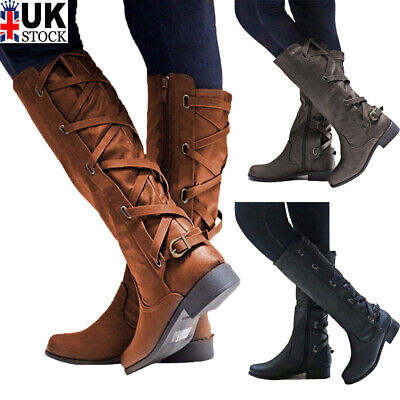 LADIES WOMENS LEATHER WIDE CALF MID