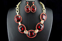 Red Wedding Bridal Prom Rhinestone Crystal Necklace Earrings Fashion Jewelry Set