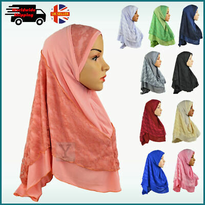 Amira Hijab with Lace Stretchy Scarf pull on ready made Headscarf Instant Shawl