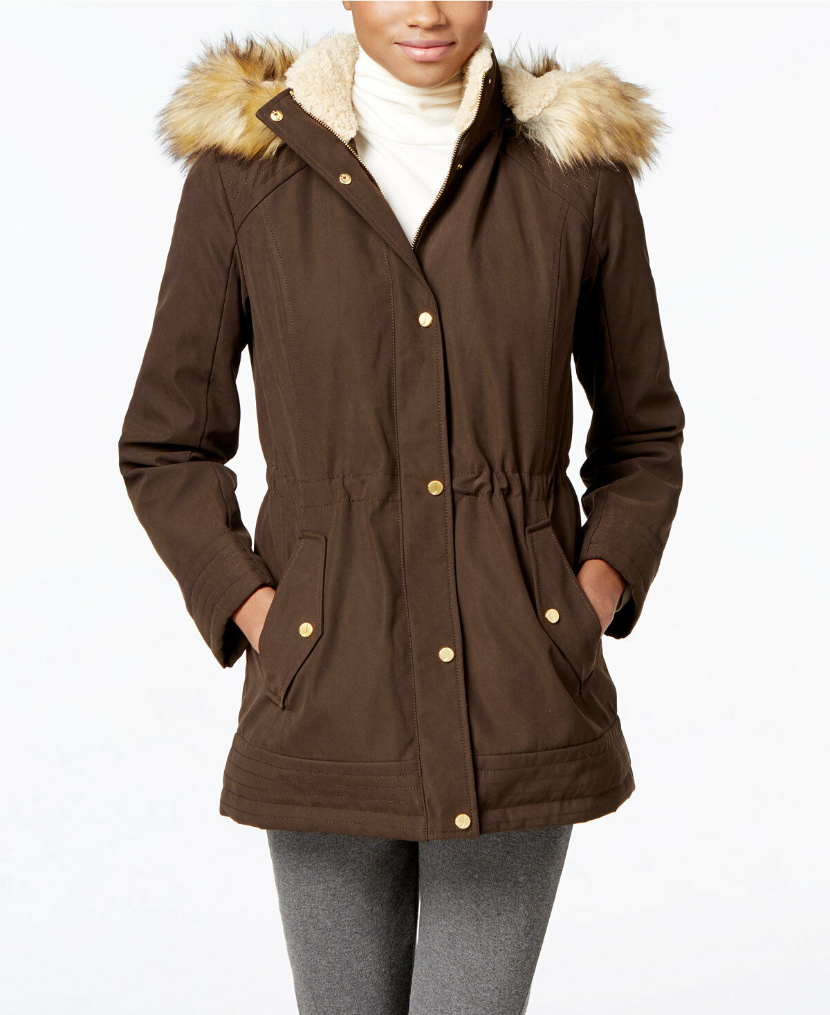 Jones New York Faux-Fur-Trim Anorak Dark Olive M  200