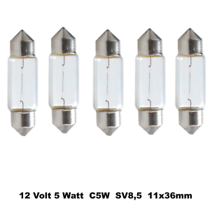 5 Stück Soffitten 12V 5W 11 x 36 mm   Glühlampe Autolampen Glühbirne   M50151