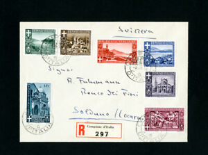 Italie-Couverture-inscrit-avec-timbres-serie-complete-de-7-timbres-tous-attaches