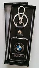 BMW leather car styling key ring key chain fob holder car accessories Black