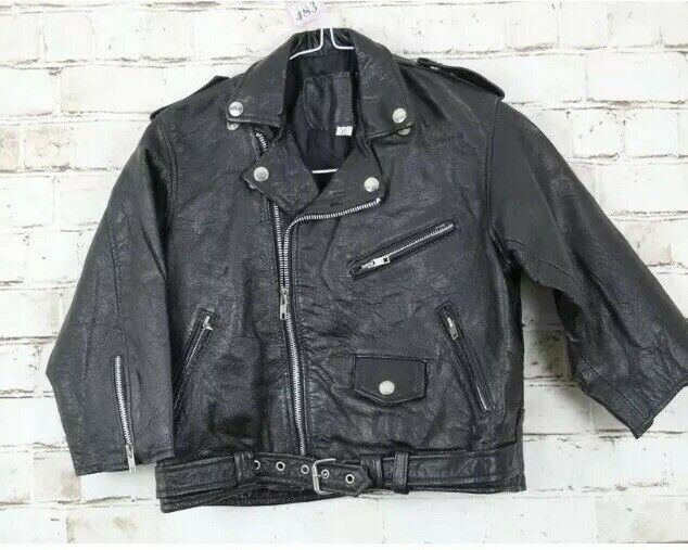 Authentique Vintage en Cuir Noir Court Moto Motard Moto Veste XS 4 6 US 2