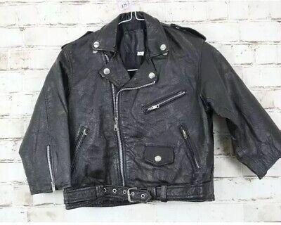 Forte Autentiche Vintage In Pelle Nera Corta Moto Biker Moto Giacca Xs 4 6 Us 2-mostra Il Titolo Originale