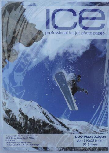 Matt Fotopapier 50, 100 Blätter Ice A4 320gsm Doppelseitige Matt
