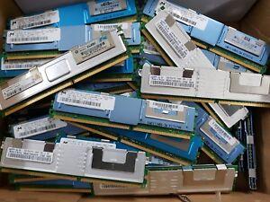 100 X  2GB  PC2-5300F ECC SERVER MEMORY MAJOR BRANDS MICRON SAMSUNG / GOLD SCRAP