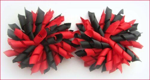 RED BLACK SCHOOL UNIFORM CHEER DANCE GYM NETBALL KORKER CORKER HAIR BOWS