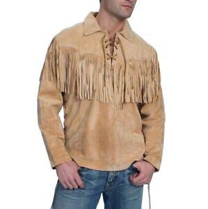 Wear Leather Western Shirt Suede Mens Pullover Jacket Fringe O0wkX8nP