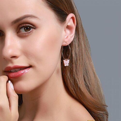 Fashion Butterfly Sequins Acrylic Earrings Hoop Dangle Drop Women Jewelry Gifts