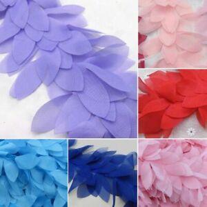 Colourful-Chiffon-3D-Flower-Leaves-Lace-Bridal-Wedding-Trim-Ribbon-Magic