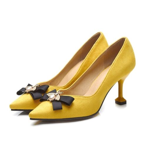 Sweet Women Pointy Toe Mid Stiletto Heel Bowknot Slip On Pumps Beads Shoes New
