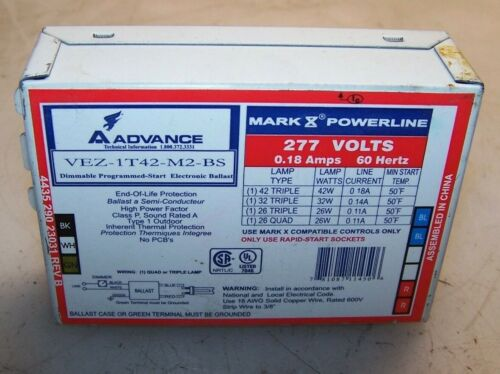 NEW PHILIPS ADVANCE VEZ-1T42-M2-BS DIMMABLE ELECTRONIC BALLAST 277 VOLT