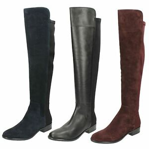 86168978be7 Details about Ladies Clarks Caddy Belle Casual Knee High Boots