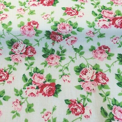 REMNANT OFFCUT 75 cm x 100  Floral PINK ROSES Flowers Polycotton Craft Material