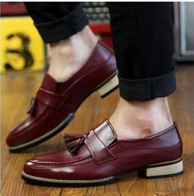 Men's Brogue Slip On Tassels Business Cuban Heel Loafers Dress Formal shoes