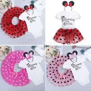 Toddler Baby Kids Girls Minnie Mouse Tutu Dress Birthday Girl Party Skirt Outfit