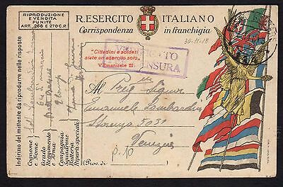 CARTOLINA Militare in franchigia 1918 da PM 144 a Venezia (FILs)