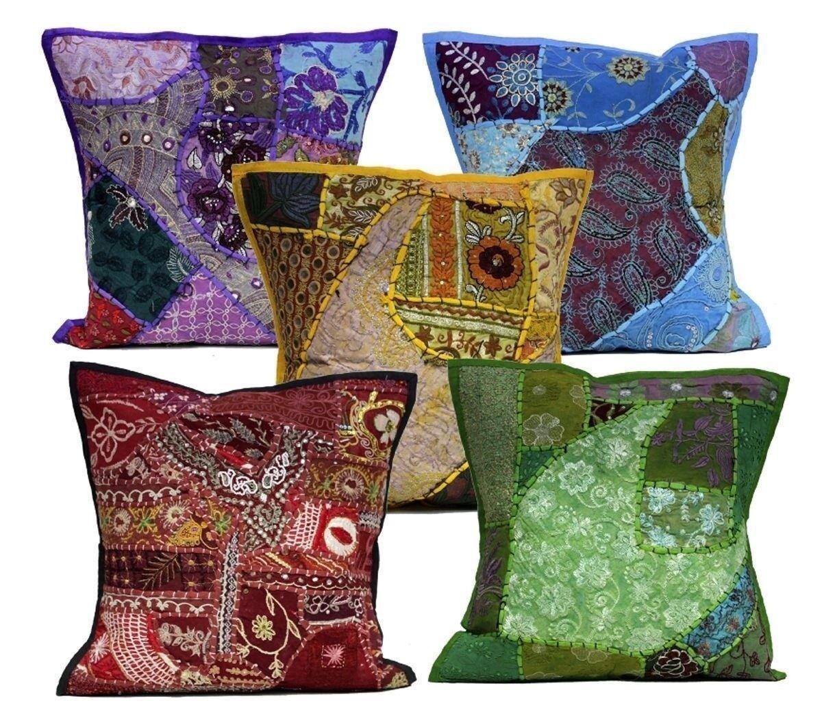 10Pcs Applique Embroidery Ethnic Patchwork Pillow Vintage Cushion Covers AIC823