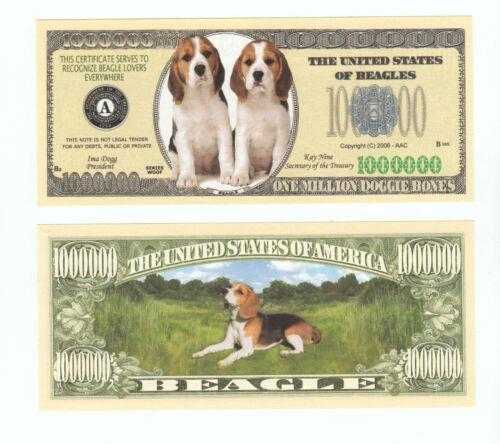 FAKE MONEY ITEM J Collectible BEAGLES MILLION DOG DOLLAR BILLS Novelty 25