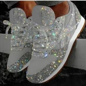 New-Women-039-s-Sequin-Glitter-Lace-Up-Fashion-Shoes-Comfort-Athletic-Sneakers