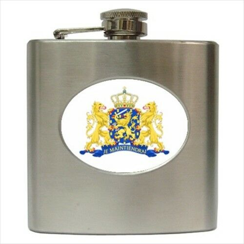 Classic Stainless Steel Netherlands Coat of Arms Hip Flask Heraldic Tabard
