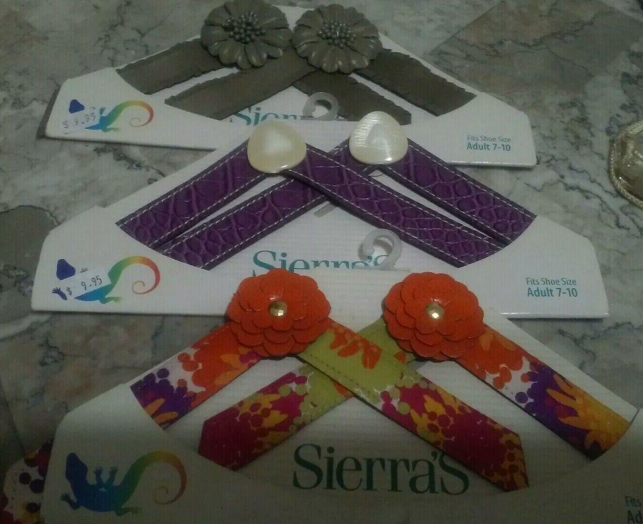 Sierras Flexibly fun footwear straps lot of 3 adult 7- 10. New