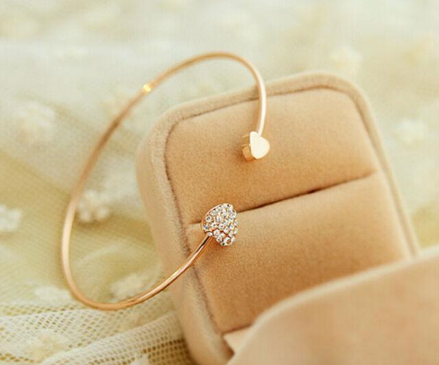 Women Crystal Fashion Gold Love Heart Bangle Cuff Bracelet Jewelry
